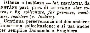 roccioletti - etimologia istanza