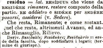 roccioletti - residuo etimologia