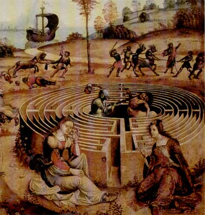 roccioletti - 1500, Teseo con Arianna e al centro del Labirinto, Palazzo dei Principi di Correggio.