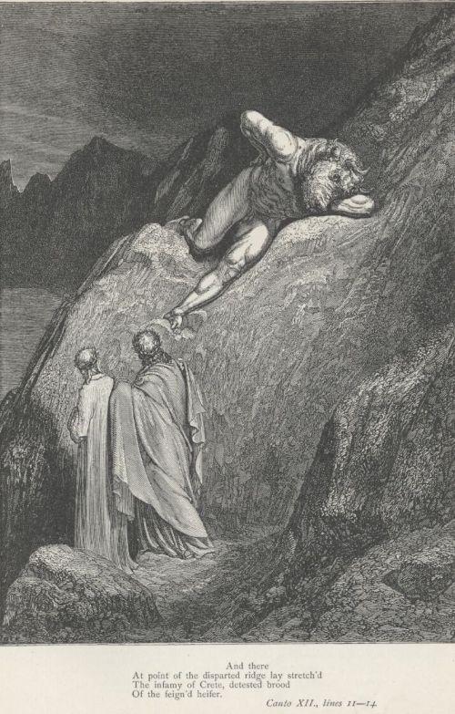 roccioletti - 1861, Gustave Doré, Dante e Virgilio incontrano il Minotauro, Divina Commedia, Inferno.