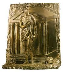 roccioletti - 1969, Giorgio De Chirico, Il Minotauro pentito, Altorilievo in bronzo argentato.