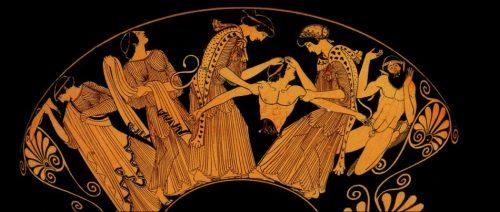 Roccioletti - Baccanti che fanno a pezzi Penteo, decorazione su anfora ispirata alle Baccanti di Euripide, 407 AC